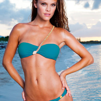 Sauvage Crystal Snake Swimsuit | Bandeau Bikini in Teal