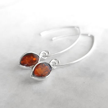 Sterling Silver Modern Earrings, Teardrop Amber Earring, Dangle Brown Amber Silver Earrings, European Jewelry, Fashion Accessories, Atigga