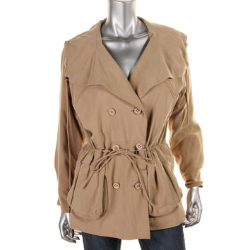 Catherine Malandrino Womens Cinched Double Breasted Jacket