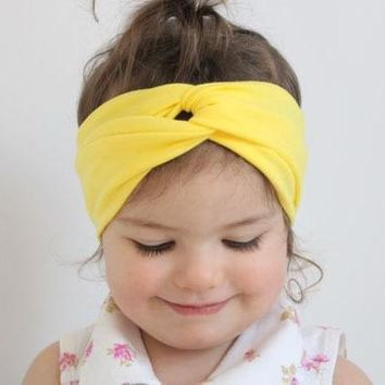 Bow Knot Yellow Pink Red Baby Girl Child Infant Toddler Head Wraps Bandana Headband