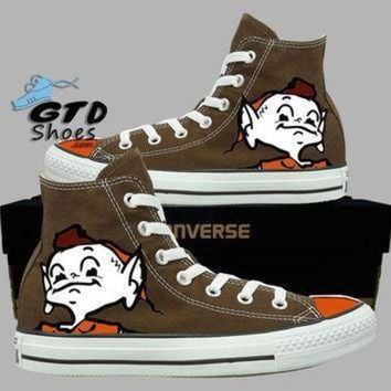 DCCK1IN hand painted converse hi cleveland browns brownie the elf football chocolate hand