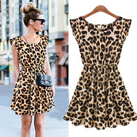 A 071833 Casual Leopard Slim Dress