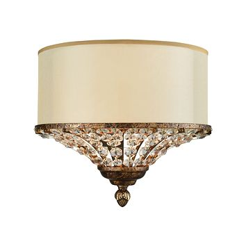 11703/2 Crystal Spring 2 Light Wall Sconce In Spanish Bronze With Cream Fabric Shade Inside Beige Organza And Clear Crystal - Free Shipping!