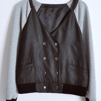 Black V Neck Long Sleeve Contrast Leather Coat - Sheinside.com