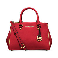 MICHAEL MICHAEL KORS SUTTON SPECCHIO SAFFIANO LEATHER SMALL SATCHEL BAG