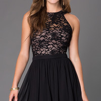 Short Sleeveless Dress with Lace Bodice