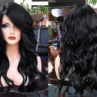 U.S.A. // Heat Safe LACE Front & Part OFF BLACK Long Wavy Wig w/ Curly Baby Hair