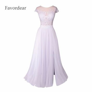 Favordear Vestido De Noiva Sexy Sheer Lace Back Side Slit Bridal Dress White Lace Chiffon Summer Long Beach Wedding Dresses