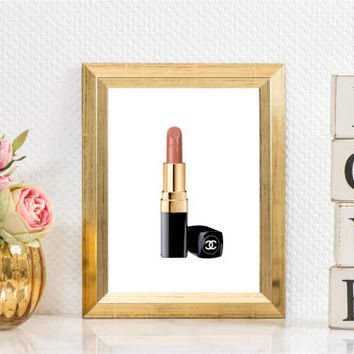 FASHION PRINT Makeup Print,Makeup Bathroom Decor,Gift For Birthday Coco Chanel Lipstick,Gift For Wife,Chanel Lipstick,Gift For Girlfriend