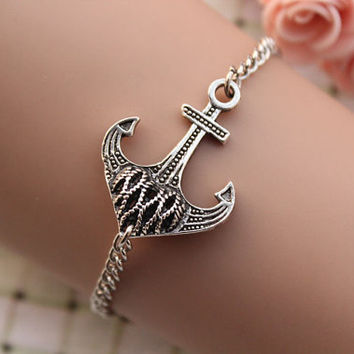 anchor bracelet,retro silver 3D anchor pendant bracelet,alloy chain---B262