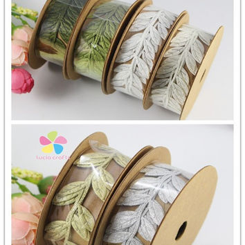 2.5cm Sewing Craft felt Lace Trim Embellishment Leaf Ribbon DIY Garment kraft 1roll lot(1y roll) 040051056