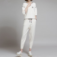 """Adidas"" Women Casual Fashion Knit Line Middle Sleeve Trousers Set Two-Piece Sportswear"