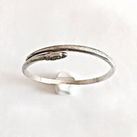 Vintage, Signed Chouski, Silver Stackable Serpent Bangle Bracelet, Made in France