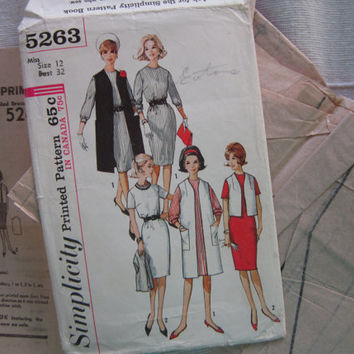 Sixties Simplicity 5263 Dress and Coat Pattern, Vintage Uncut 1963 Pattern, Mad Men Era, Miss Size 12, Printed Uncut Pattern