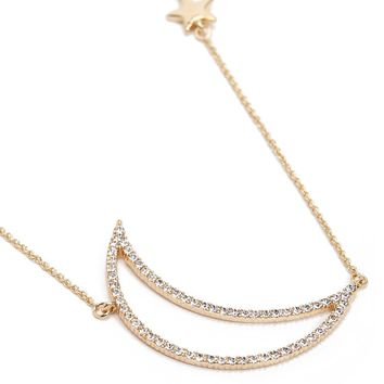 Rhinestone Crescent Moon Pendant Necklace