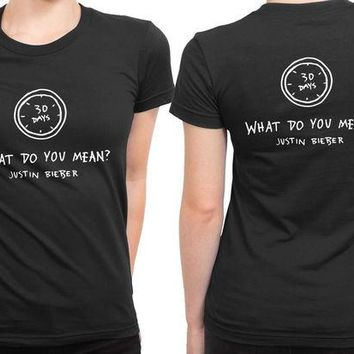LMF1GW Justin Bieber Days What Do You Mean 2 Sided Womens T Shirt