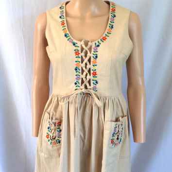 Japanese Empire Waist Embroidered Babydoll Jumper Sz S/M