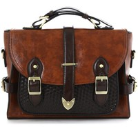 Belted Handle Satchel Bag in Brown