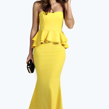 Mira Bella Fishtail Peplum Bandeau Dress