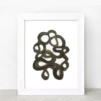 Original abstract painting on paper - contemporary fine art - black and white -  black ink painting - squiggles - minimalist art