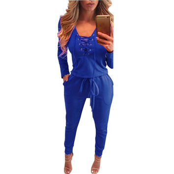 Women Elegant Slim Long Jumpsuits Rompers Sexy Hollow Out Deep V-neck Lace Up Overalls Playsuit Bodysuit Black Combinaison Femme