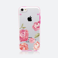 iPhone 5C case iPhone 5 / 5S case, half-transparent cover case, floral flower rose design bumper hard plastic case pc tpu case, L23