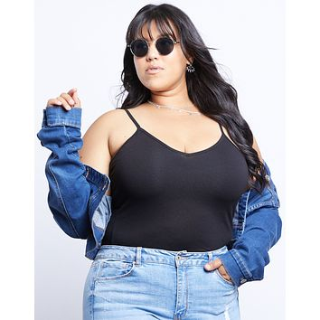 Plus Size V-neck Basic Cami