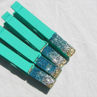 Clothespin Refrigerator Magnet  in Teal with Blue and Gold Glitter (3.5 inch)