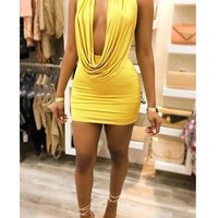 Yellow Bodycon Two Piece Tie Back Backless Plunging Neckline Clubwear Mini Dress