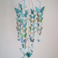 Butterfly Baby Mobile- Blue and Aqua