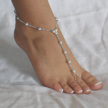 Swarovski Crystal and Pearl Beach Wedding Barefoot Sandals