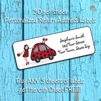 LADY BUGGY Return ADDRESS Labels, Red and Black VW Bug Lady