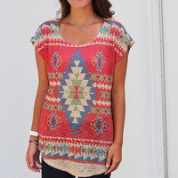 Already Gone Aztec Top {Deep Coral}