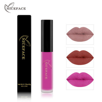 NICEFACE 1 pcs Waterproof Lipstick Long Lasting Matte Liquid Lipstick Lip Gloss For Lip Cosmetics Makeup 26 Color Makeup Tools