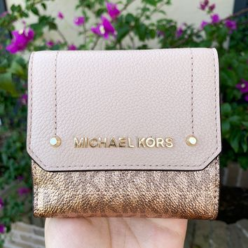 Michael Kors Hayes Medium Trifold Coin Case Rose Hold MK Signature Pink