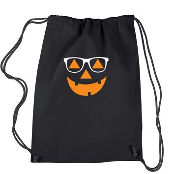 Hipster Jack O Lantern With Glasses Drawstring Backpack