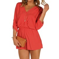 Sale-coral Red Rolled Up Sleeves Romper