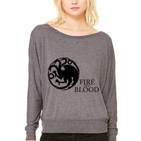 Targaryen Sigil and Motto WOMEN'S FLOWY LONG SLEEVE OFF SHOULDER TEE