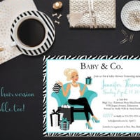 Baby and Co baby shower/ Baby Co Shower Invitation/ Boy baby shower invitation/ Turquoise baby shower/ Trendy mom invite/ Chic baby shower - Edit Listing - Etsy
