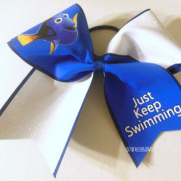 Dori Just Keep Swimming Rhinestone Large Cheer Bow Cheerleading