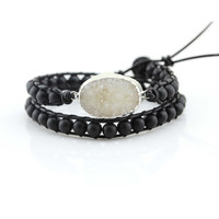 White Druzy and Matte Onyx Beads Double Wrap Bracelet on Black Leather