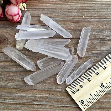 3Pcs Clear Natural Crystal Quartz Cluster DIY Crystal Point Terminated Wand Specimen Pendant Healing Angel Quartz Crystal Stones