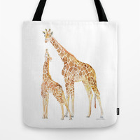 Mother and Baby Giraffes Tote Bag by Susan Windsor