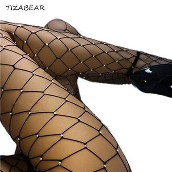 Sexy Tights Rhinestones Mesh Fishnet Pantyhose Summer Women Bling Fishnet Tights Stockings Plus Size Party Club Hosiery SW067