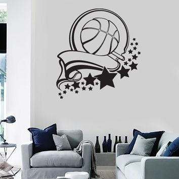 Wall Stickers Vinyl Decal Sport Healthy Basketball Victory Ribbon Stars Unique Gift (n236)