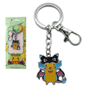 Pokemon Pocket Monster Pikachu Keychain Mega Charizard Lucario Audino Slowbro Keyring Pendant Fan Collect