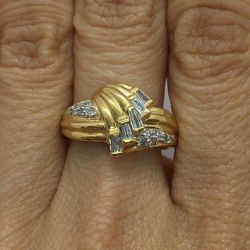 18K Baguette and Round Diamond Yellow Gold Statement Ring