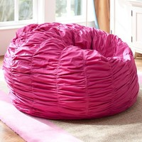 Ruched Pink Magenta Beanbag