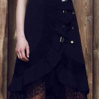 Black Riveted Laced Wrap Skirt