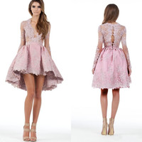 2016 New Custom Made Cocktail Party Dresses Lace Applique Long Sleeves Hi-lo Plunging Homecoming Gowns Prom Short Dress